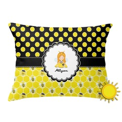 Honeycomb, Bees & Polka Dots Outdoor Throw Pillow (Rectangular) (Personalized)