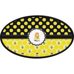 Honeycomb, Bees & Polka Dots Oval Trailer Hitch Cover (Personalized)