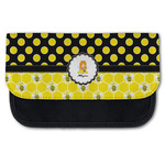 Honeycomb, Bees & Polka Dots Canvas Pencil Case w/ Name or Text