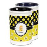 Honeycomb, Bees & Polka Dots Ceramic Pencil Holder - Large