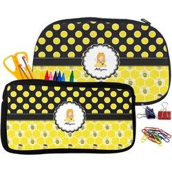 Honeycomb, Bees & Polka Dots Pencil / School Supplies Bag (Personalized)