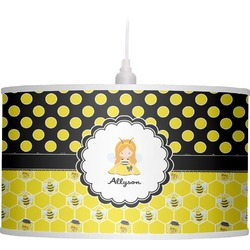 Honeycomb, Bees & Polka Dots Drum Pendant Lamp (Personalized)