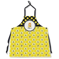 Honeycomb, Bees & Polka Dots Apron Without Pockets w/ Name or Text