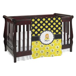 Honeycomb, Bees & Polka Dots Baby Blanket (Personalized)