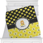 Honeycomb, Bees & Polka Dots Minky Blanket (Personalized)