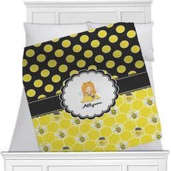 "Honeycomb, Bees & Polka Dots Fleece Blanket - Twin / Full - 80""x60"" - Single Sided (Personalized)"