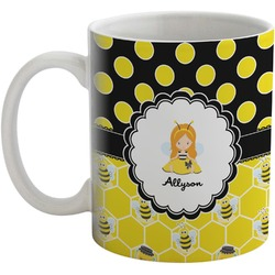 Honeycomb, Bees & Polka Dots Coffee Mug (Personalized)