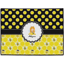 Honeycomb, Bees & Polka Dots Door Mat (Personalized)