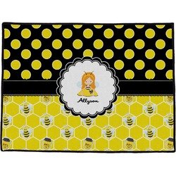 Honeycomb, Bees & Polka Dots Door Mat (Personalized)