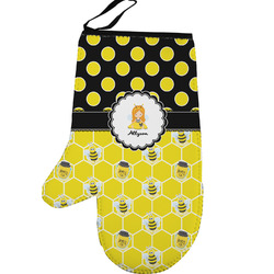Honeycomb, Bees & Polka Dots Left Oven Mitt (Personalized)