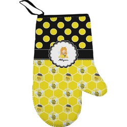 Honeycomb, Bees & Polka Dots Right Oven Mitt (Personalized)