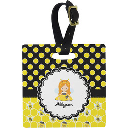 Honeycomb, Bees & Polka Dots Square Luggage Tag (Personalized)