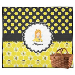 Honeycomb, Bees & Polka Dots Outdoor Picnic Blanket (Personalized)