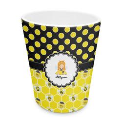 Honeycomb, Bees & Polka Dots Plastic Tumbler 6oz (Personalized)