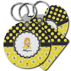 Honeycomb, Bees & Polka Dots Plastic Keychains (Personalized)