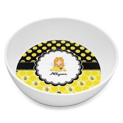 Honeycomb, Bees & Polka Dots Melamine Bowl 8oz (Personalized)