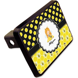 """Honeycomb, Bees & Polka Dots Rectangular Trailer Hitch Cover - 2"""" (Personalized)"""