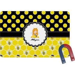 Honeycomb, Bees & Polka Dots Rectangular Fridge Magnet (Personalized)
