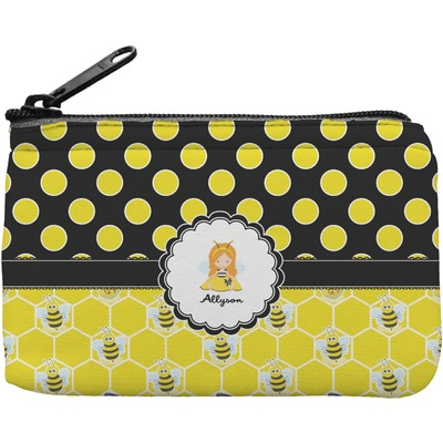 Honeycomb, Bees & Polka Dots Rectangular Coin Purse (Personalized)