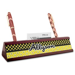 Honeycomb, Bees & Polka Dots Red Mahogany Nameplate with Business Card Holder (Personalized)