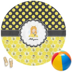 Honeycomb, Bees & Polka Dots Round Beach Towel (Personalized)