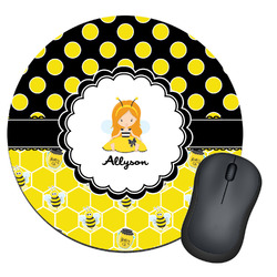 Honeycomb, Bees & Polka Dots Round Mouse Pad (Personalized)