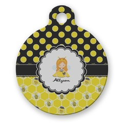 Honeycomb, Bees & Polka Dots Round Pet Tag (Personalized)
