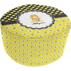 Honeycomb, Bees & Polka Dots Round Pouf Ottoman (Personalized)