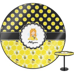 Honeycomb, Bees & Polka Dots Round Table (Personalized)