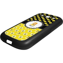 Honeycomb, Bees & Polka Dots Rubber Samsung Galaxy 3 Phone Case (Personalized)