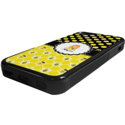 Honeycomb, Bees & Polka Dots Rubber iPhone 5C Phone Case (Personalized)