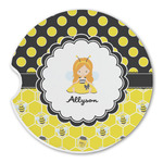 Honeycomb, Bees & Polka Dots Sandstone Car Coasters (Personalized)