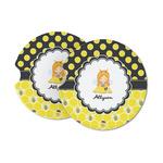 Honeycomb, Bees & Polka Dots Sandstone Car Coasters (Personalized)