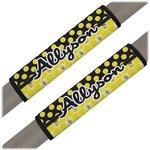 Honeycomb, Bees & Polka Dots Seat Belt Covers (Set of 2) (Personalized)