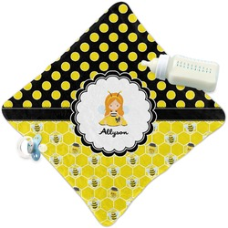 Honeycomb, Bees & Polka Dots Security Blanket (Personalized)