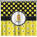 Honeycomb, Bees & Polka Dots Shower Curtain (Personalized)