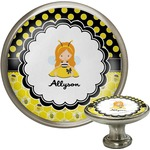Honeycomb, Bees & Polka Dots Cabinet Knob (Silver) (Personalized)