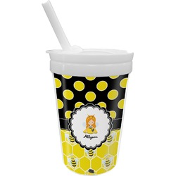 Honeycomb, Bees & Polka Dots Sippy Cup with Straw (Personalized)