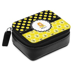 Honeycomb, Bees & Polka Dots Small Leatherette Travel Pill Case (Personalized)