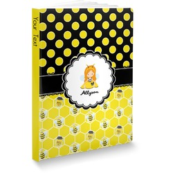Honeycomb, Bees & Polka Dots Softbound Notebook (Personalized)
