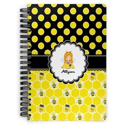 Honeycomb, Bees & Polka Dots Spiral Bound Notebook (Personalized)