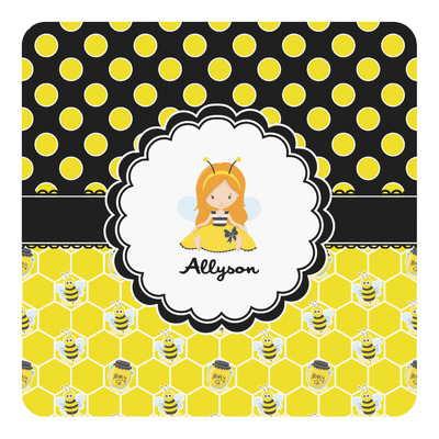 Honeycomb, Bees & Polka Dots Square Decal (Personalized)
