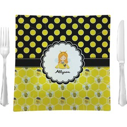 Honeycomb, Bees & Polka Dots Glass Square Lunch / Dinner Plate 9.5