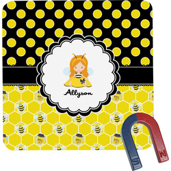 Honeycomb, Bees & Polka Dots Square Fridge Magnet (Personalized)