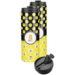 Honeycomb, Bees & Polka Dots Stainless Steel Skinny Tumbler (Personalized)