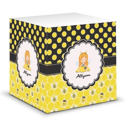 Honeycomb, Bees & Polka Dots Sticky Note Cube (Personalized)