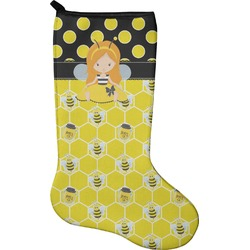 Honeycomb, Bees & Polka Dots Holiday Stocking - Neoprene (Personalized)
