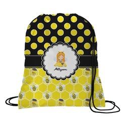 Honeycomb, Bees & Polka Dots Drawstring Backpack (Personalized)