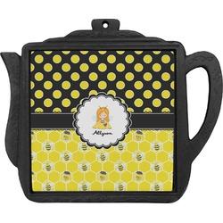 Honeycomb, Bees & Polka Dots Teapot Trivet (Personalized)