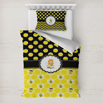 Honeycomb, Bees & Polka Dots Toddler Bedding w/ Name or Text